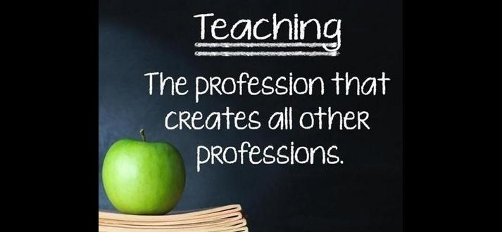 blackboard with Teaching, the profession the creates all other professions in background and a green apple on a short stack of books in foreground