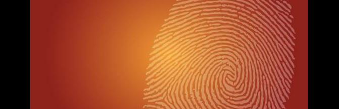 light orange fingerprint on a darker orange background