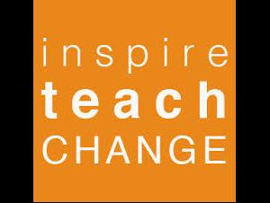 picture of the words inspire, teach change in white text on orange background